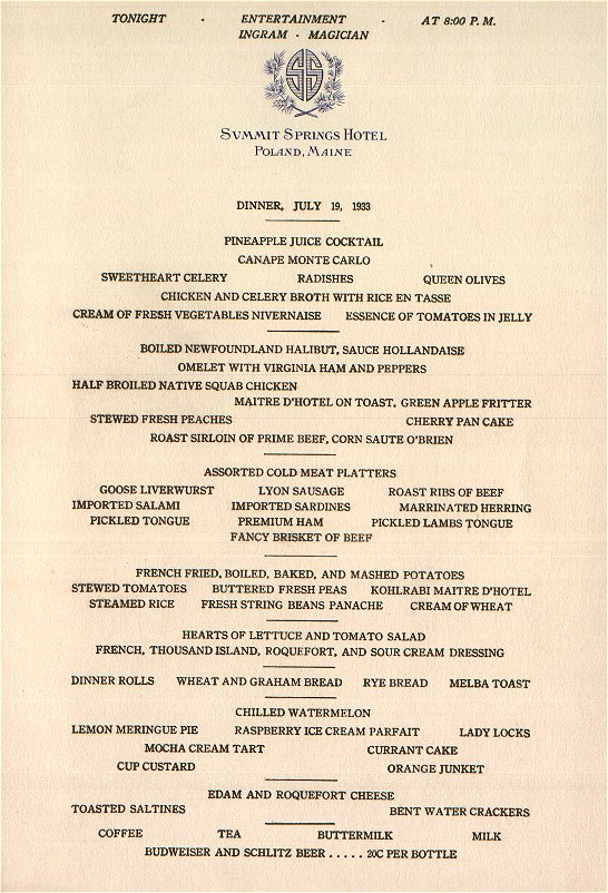 Claridges Restaurant Menu